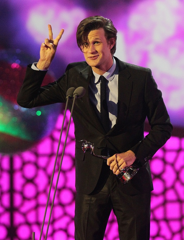 Matt Smith with the award for Best Actor on stage during the 2012 NTA Awards at the O2