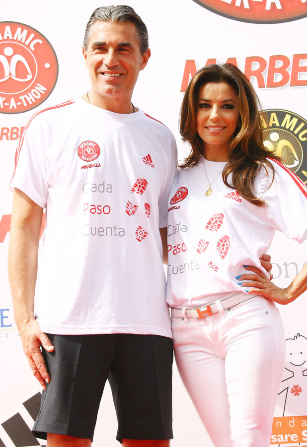 Sergio Scariolo and Eva Longoria take part in the Dynamic Walk-A-Thon in Marbella.