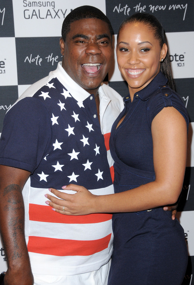 Tracy Morgan with his fiancee Megan WolloverThe launch of the Samsung Galaxy Note 10.2