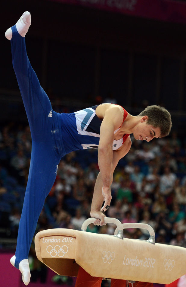 Great Britain's Max Whitlock competes on the pommel horse during the Artistic Gymnastics team qualification