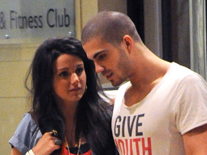 Michelle Keegan and Max George of The Wanted leave the hotel bar to collect Michelle's overnight bag from reception then head off to the hotel lifts. Manchester, England - 28.03.11 Mandatory Credit: Steve Searle/WENN.com