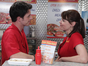 At the kebab shop, Tracy flirts with Ryan