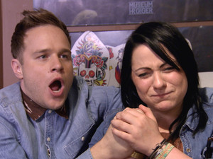 Olly Murs and X Factor contestant Lucy, who gets tattoo of his name following bet
