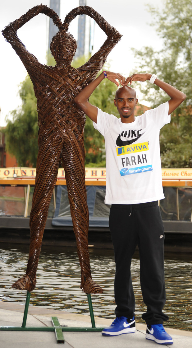 Mo Farah attends the Aviva Birmingham Grand Prix photocall.