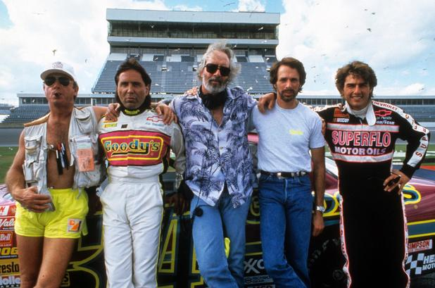 Tony Scott with Don Simpson, Robert Towne, Jerry Bruckheimer and Tom Cruise on the set of 'Days of Thunder', 1990