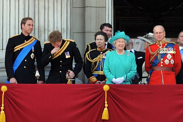 Prince William, Prince Harry, Princess Anne, Princess Royal, Queen Elizabeth ll and Prince Edward, Earl of Wessex and Prince Philip, Duke of Edinburghon the balcony of Buckingham Palace after trooping the colour