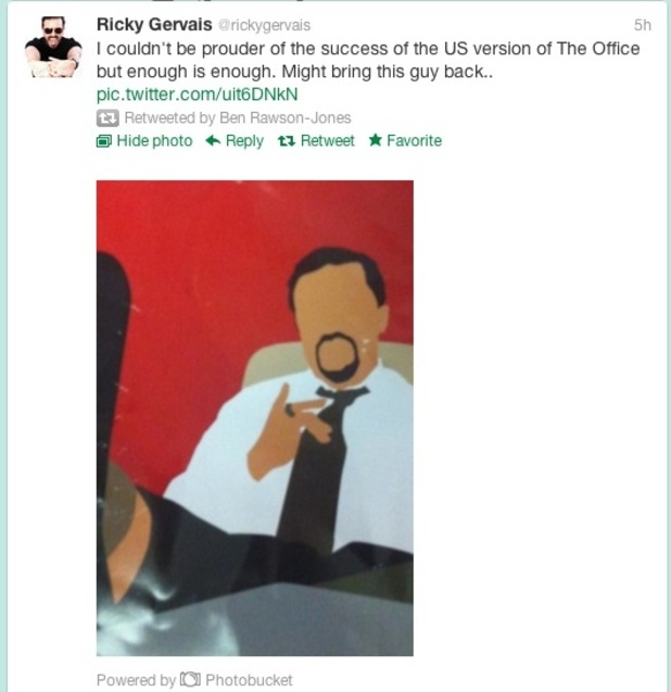 Ricky Gervais tweets about David Brent.