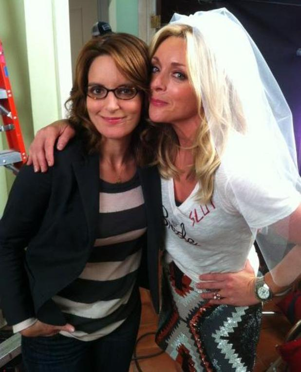 Tina Fey and Jane Krakowski filming 30 Rock