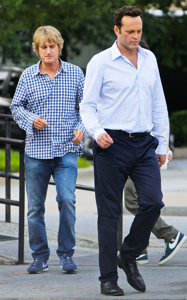 Owen Wilson and Vince Vaughn on the film set of their new movie 'The Internship' in Atlanta.