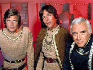 Maren Jensen, Dirk Benedict, Richard Hatch and Lorne Greene in the original series of 'Battlestar Galactica'.