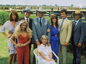 An early Dallas line up starring Larry Hagman, Linda Gray, Victoria Principal, Patrick Duffy, Barbara Bel Geddes and Charlene Tilton.