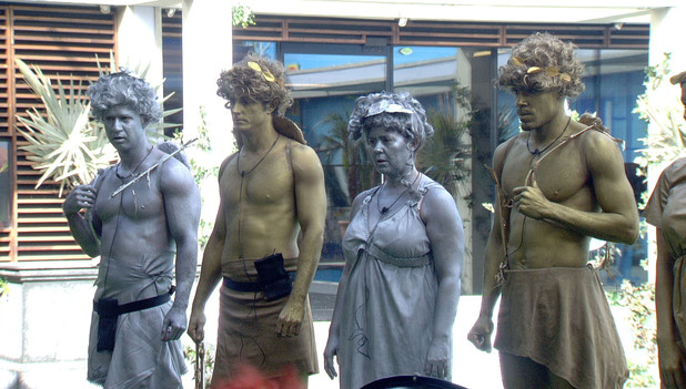 Mike, Prince Lorenzo, Coleen and MC Harvey as statues