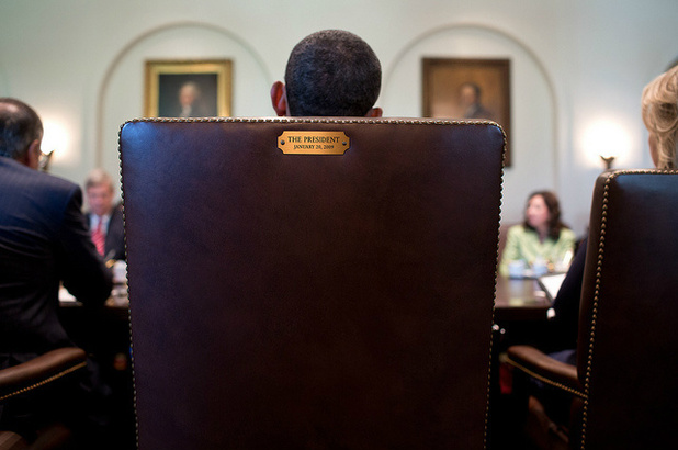 US president Barack Obama in his chair