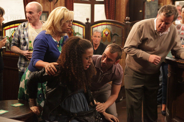 Tina is shocked to have made Kirsty's water break in the Rovers, and Marcus panics that there isn't enough time to call an ambulance