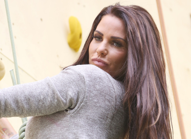 Katie Price Walker's deep ridged crisps - Britain's tallest climbing wall challenge - photocall, held at the Old Truman Brewery London, England - 29.08.12 Mandatory Credit: Lia Toby/WENN.com