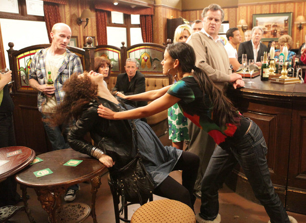 A furious Tina tracks down Kirsty in the pub and attacks her with all guns blazing