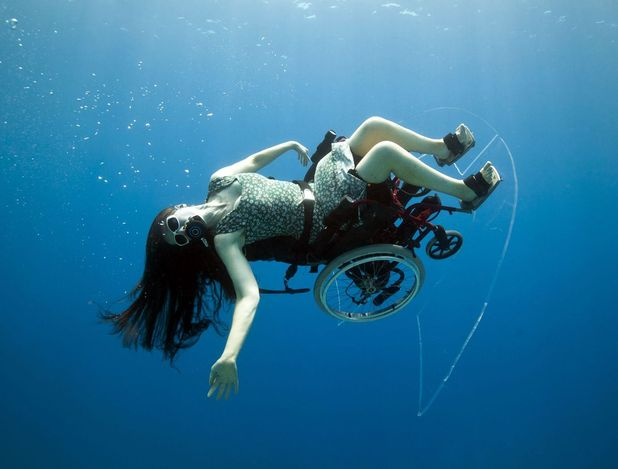 Sue Austin in her underwater wheel chair.