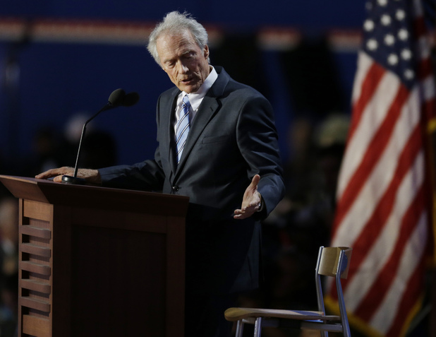 Clint Eastwood addresses an empty chair as though it were President Obama, Republican National Convention (RNC) - August 30, 2012
