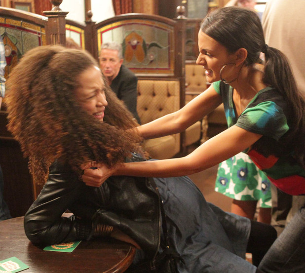 Tina is unaware of what her actions will lead to as she angrily attacks Kirsty