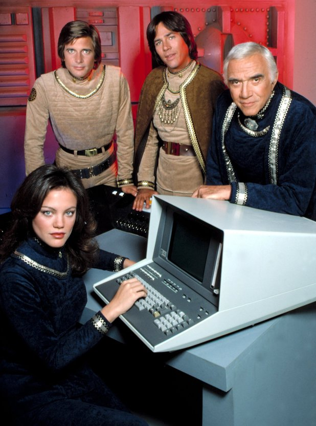 Maren Jensen, Dirk Benedict, Richard Hatch and Lorne Greene.