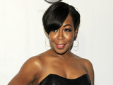 "Actress Tichina Arnold poses at the premiere of the film ""Laugh at My Pain"" in Los Angeles"