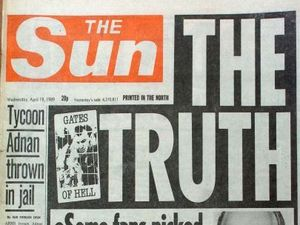 Front cover of The Sun from 1989 reporting on the Hillsborough tragedy