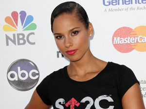 Alicia Keys at the Stand up to Cancer ball held at The Shrine Auditorium in Los Angeles.