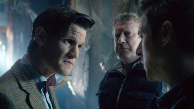 The Doctor (Matt Smith), Brian Williams (Mark Williams) and Rory Williams (Arthur Darvill)
