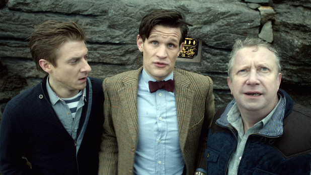 Rory Williams (Arthur Darvill), The Doctor (Matt Smith) and Brian Williams (Mark Williams)