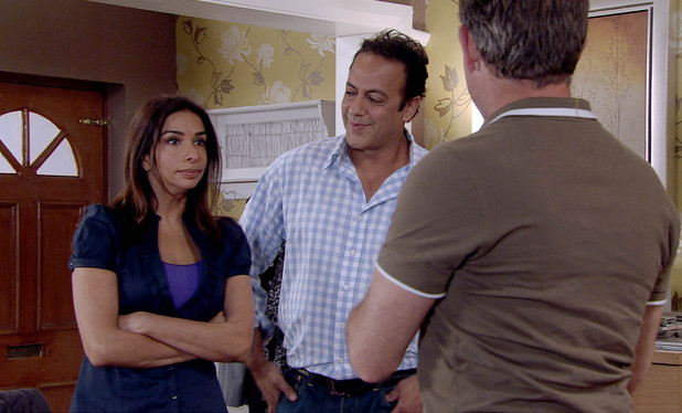 Sunita tells Karl that Dev has offered her a job in the corner shop