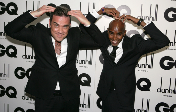 Robbie Williams does the Mobot with Mo Farah