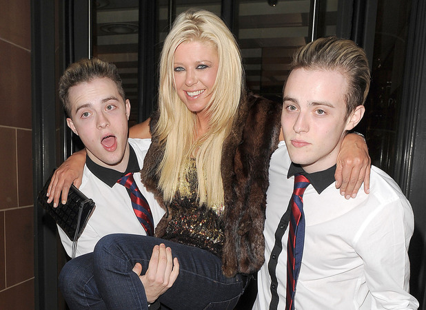 Tara Reid, John Grimes and Edward Grimes aka Jedward enjoy a night out at 'C' restaurant. London, England - 05.09.12 Mandatory Credit: Will Alexander/WENN.com
