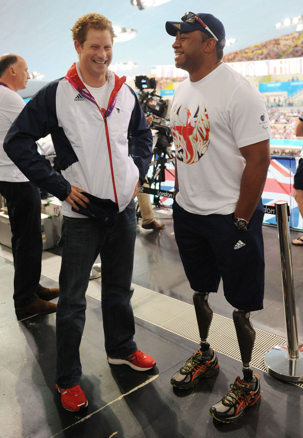 Prince Harry, Derek Derenalagi, Aquatics Centre