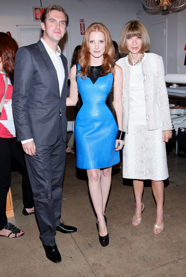 Dan Stevens, Jessica Chastain and Anna Wintour