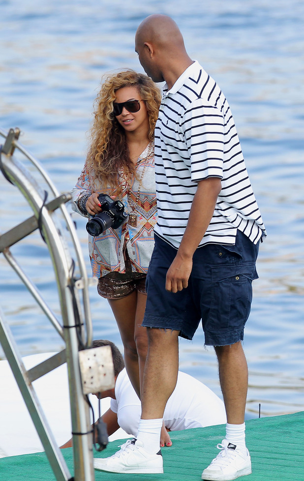Beyonce heading for The Monte Carlo private beach club.