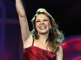 Kylie Minogue on the stage at &#39;Proms in the Park&#39;.