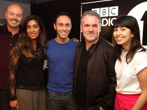 Chris Moyles with colleagues at Radio 1 for his last breakfast show
