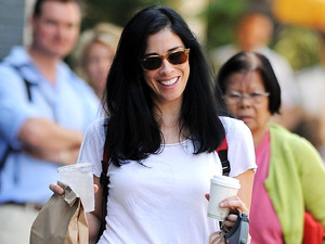 Sarah Silverman takes her dog Duck for a walk, New York