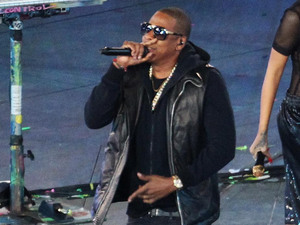 Jay Z, Rihanna and Chris Martin perform during the Paralympic Games closing Ceremony at the Olympic Stadium