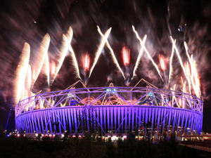 Fireworks explode over the Olympic Stadium during the Paralympic Games closing Ceremony at the Olympic Stadium