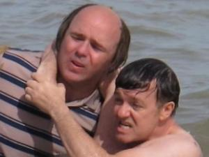 Ricky Gervais and Karl Pilkington on the set of 'Derek'