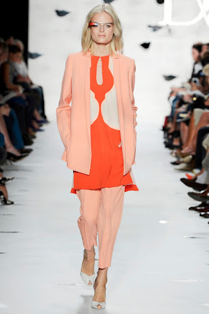 DVF model wearing Google's 'Terminator' glasses on the catwalk