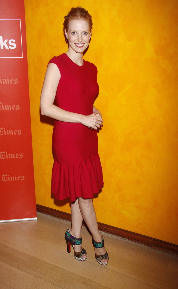 Jessica Chastain in a red Alexander McQueen dress TimesTalk Presents