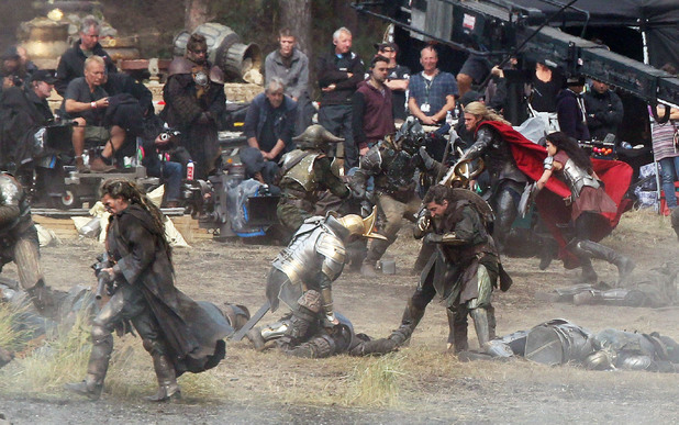 Chris Hemsworth filming scenes for the movie &#39;Thor: The Dark World&#39;