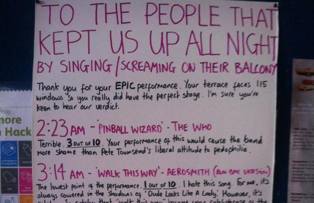 Neighbour kept up by late night karaoke posts public critique of terrible singing