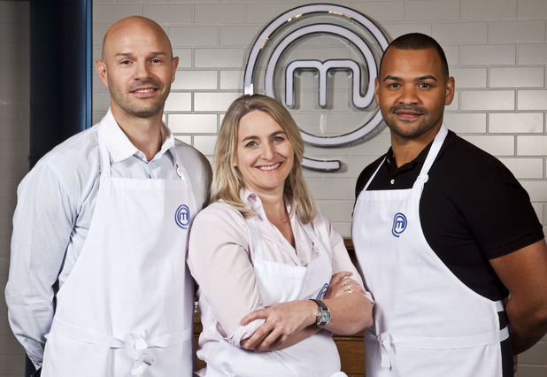 The Final 3 chefs of Celebrity Masterchef 2012, including Danny Mills, Emma Kennedy and Michael Underwood