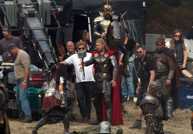 Chris Hemsworth filming scenes for the movie 'Thor: The Dark World'