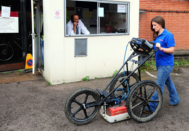 Claire Graham uses ground penetration radar (GPR) at Greyfriars car park in Leicester during an archaeological search for the lost grave of Richard III