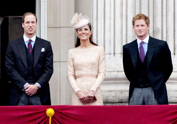 Prince Harry on balcony with Duke and Duchess of Cambridge at Queen's jubilee celebrations
