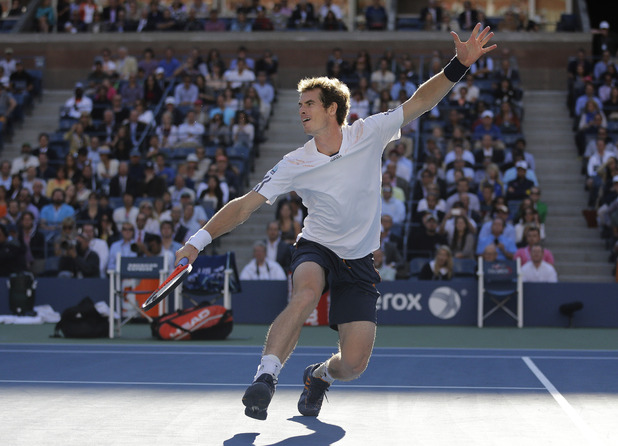 Andy Murray returns a shot in his US Open final against Novak Djokovic, September 10 2012